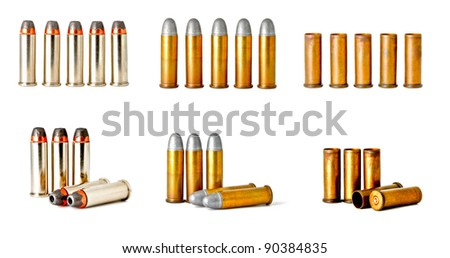 set of 0.38 revolver handgun bullets isolated on white background, studio shot - stock photo