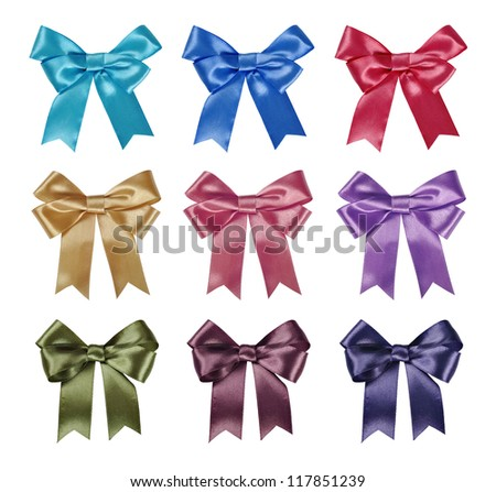 Set of ribbon bows - red, pink, blue, gold, green - all colors collection. Clipping path for each bow included. - stock photo