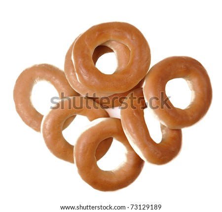 set of ring bagels isolated on a white background - stock photo