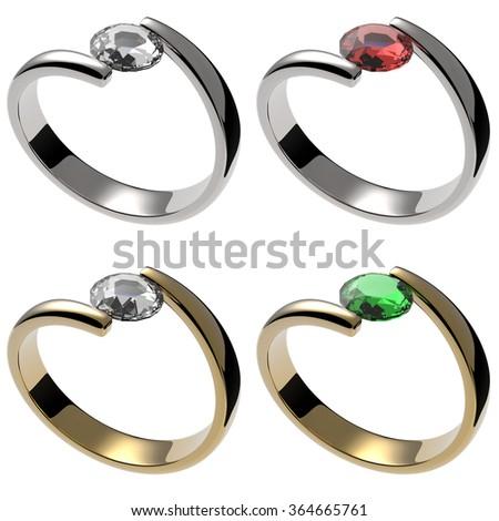 Set of rings with diamond, ruby, emerald gemstone - stock photo