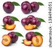 Set of ripe purple plum fruits isolated on white background - stock photo