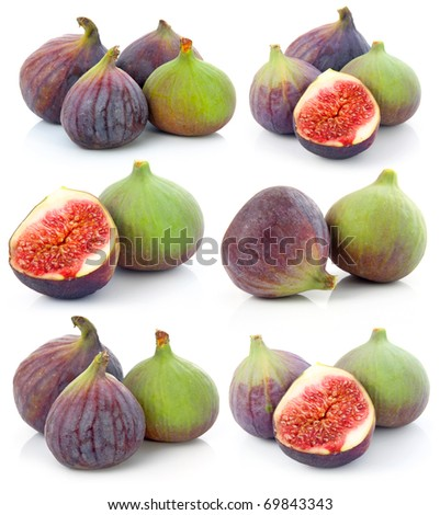 Set of Ripe sliced purple and green fig fruit isolated on white background - stock photo