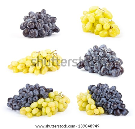 Set of Ripe sweet juicy grapes black on white - stock photo