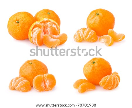 Set of ripe tangerine with slices isolated on white background - stock photo