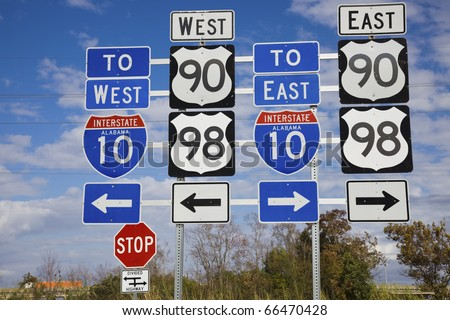 Set of road signs - seen in Mobile, Alabama. - stock photo