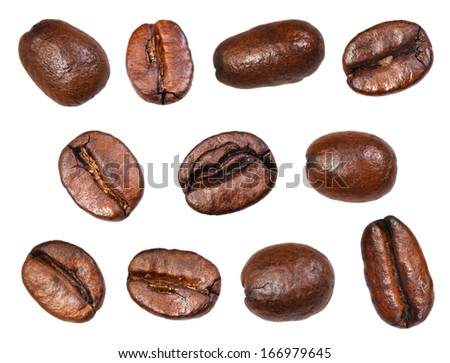 set of roasted coffee beans isolated on white background