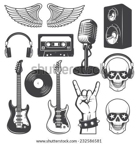 Set of rock and roll music elements. Monochrome - stock photo