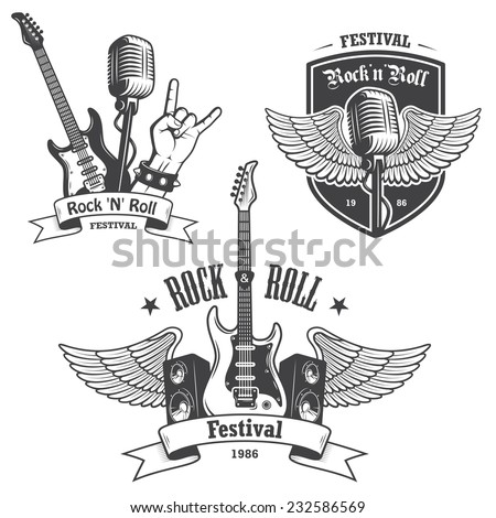 Set of rock and roll music emblems, labels, badges and design elements. Heavy metal design. - stock photo