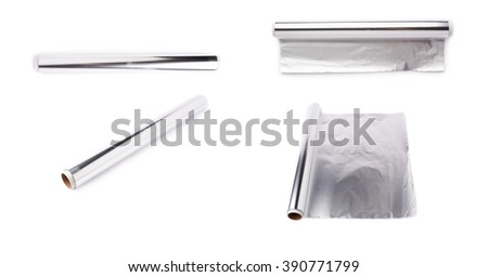 Set of roll of aluminium gray foil paper over isolated white background, different foreshortenings - stock photo