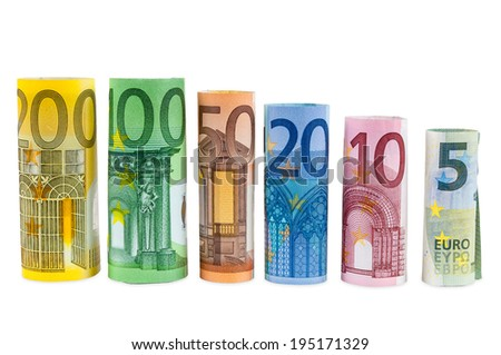 Set of rolled euro banknotes isolated on white background with clipping path