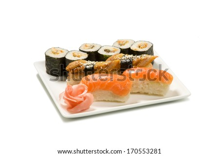 set of rolls and nigiri with salmon and eel