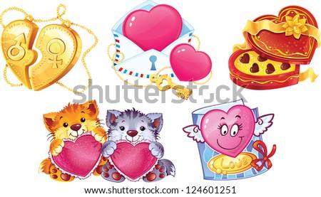 Set of romantic symbols for Valentin's Day - stock photo