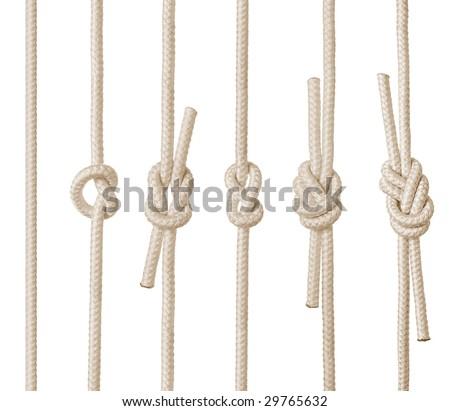 Set of rope knots on white background (isolated). - stock photo