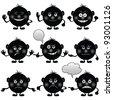 Set of round black and white smilies symbolising various human emotions - stock photo