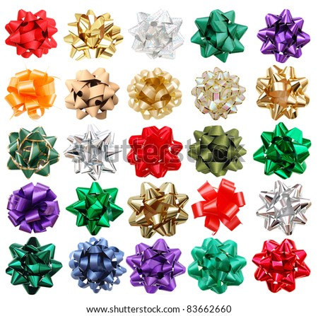 set of 25 round bows - stock photo