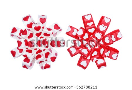 Set of round bows from ribbon hearts for St. Valentine's Day isolated on the white - stock photo
