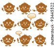 Set of round brown smilies symbolising various human emotions - stock photo