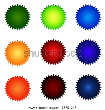 Set Of Round Colourful Website Buttons - sRGB Colour Space
