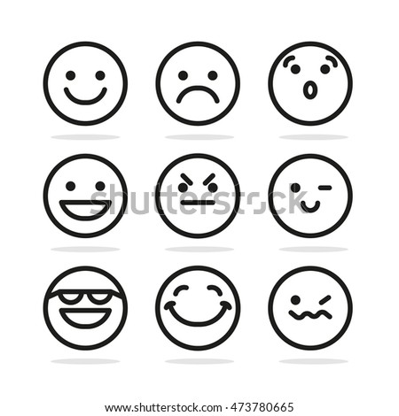Set Of Round Emoticon Smile Signs