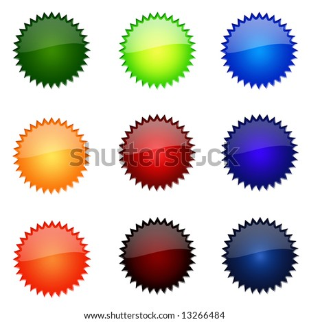 Set Of Round Glossy Website Buttons - sRGB Colour Space