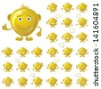 Set of round golden smileys with hands and feet, symbolising various human emotions, isolated on white background - stock vector