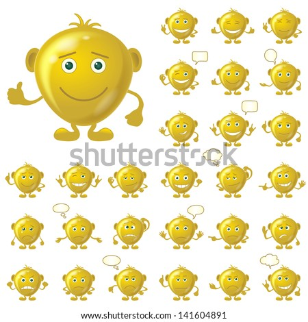 Set of round golden smileys with hands and feet, symbolising various human emotions, isolated on white background