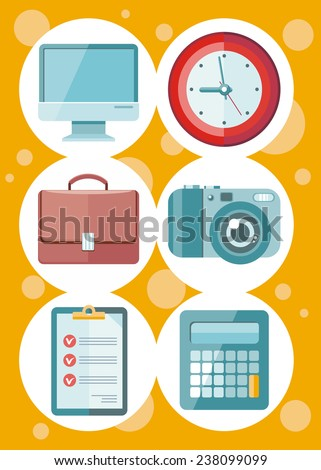 Set of 6 round icons for office and time management with digital devices and office objects on yellow dotted background. Raster version