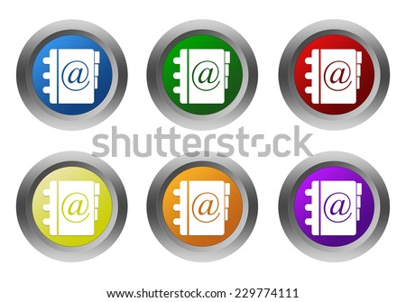 Set of rounded colorful buttons with address book symbol in blue, green, yellow, orange, purple and red colors