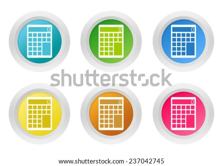 Set of rounded colorful buttons with calculator symbol in blue, green, yellow, pink and orange colors - stock photo