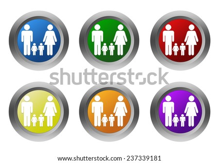 Set of rounded colorful buttons with family symbol in blue, green, yellow, red, purple and orange colors - stock photo