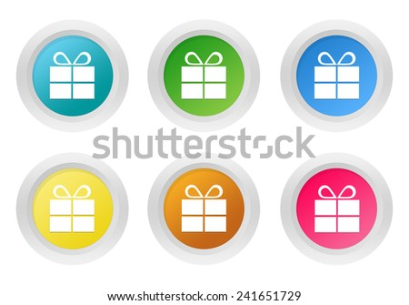 Set of rounded colorful buttons with gift symbol in blue, green, yellow, pink and orange colors - stock photo