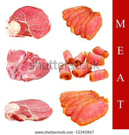 set of row and smoked meat over white background - stock photo