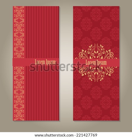 Set of royal deep red and beige gold banners with pattern, border and sample text. empty blank template on grey background with shadows. raster version - stock photo