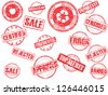 set of rubber stamps - stock photo