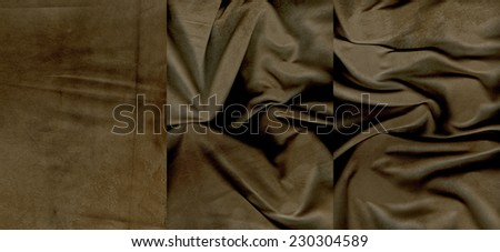 Set of rumpled brown suede leather textures for background - stock photo