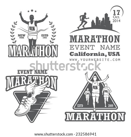 Set of running marathon and jogging emblems, labels and badges. isolated illustration. Set 2 - stock photo