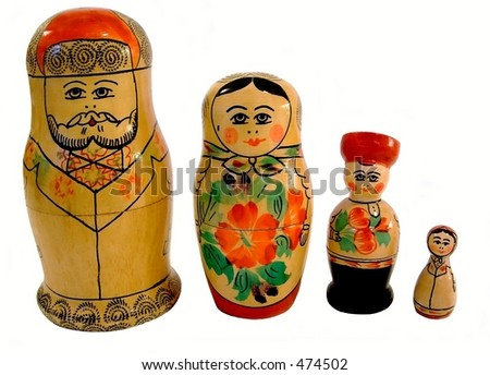 Set of 4 Russian stacking dolls