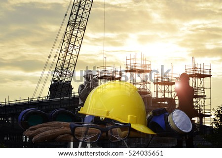 Set Of Safety Work Wear On Construction Background At Site Concept