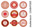Set of sale badges, labels and stickers in red. Raster version. - stock photo