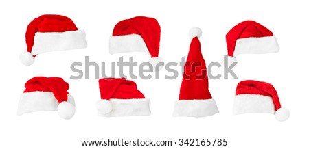 Set of Santa Claus red christmas hats isolated on white background - stock photo