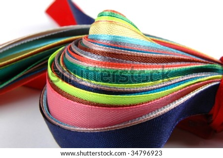 Set of satiny colored ribbons