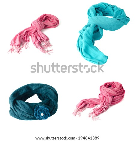 Set of scarves isolated on white background.