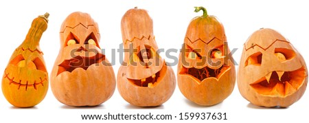 Set of Scary Jack O Lantern halloween pumpkins  - stock photo