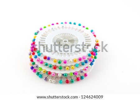 Set of scatter pins over white - stock photo
