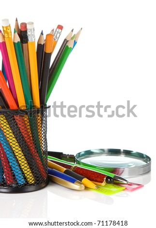 set of school accessories isolated on white background - stock photo