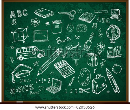 Set of school doodle illustrations - Back to school