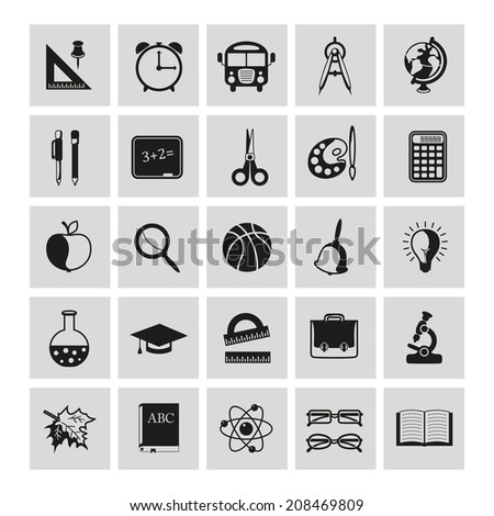 set of school icons on gray background - stock photo
