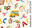 Set of  School tools and Supplies seamless pattern. - stock photo