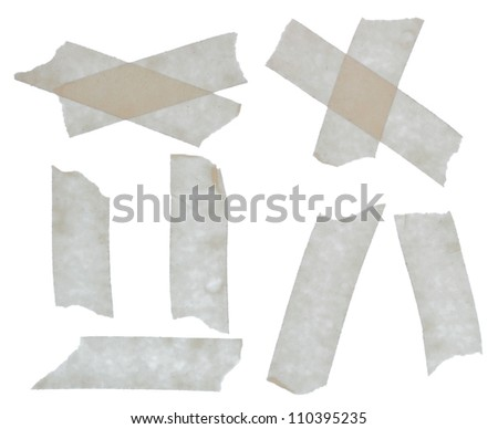 Set of scotch tape sticky slices isolated on white background - stock photo