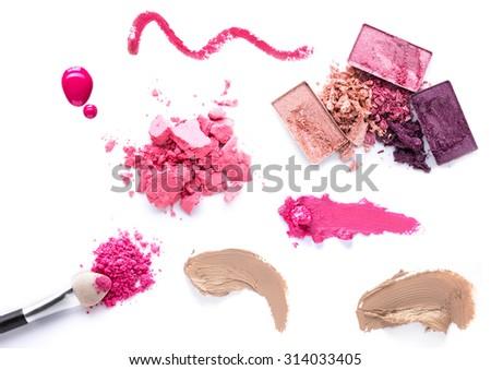set of Scratch lipstick, blush on, powder and make up cosmetics collection - stock photo